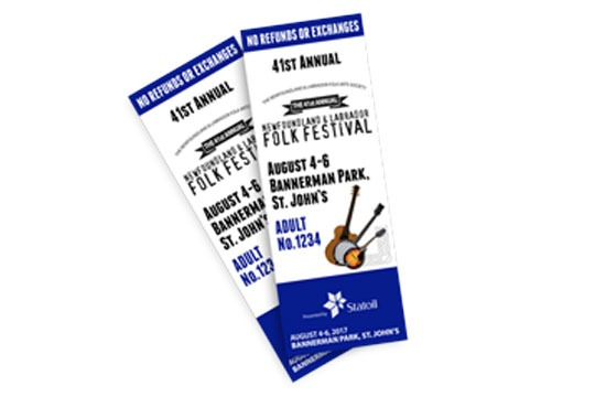Tickets for the 2017 NL Folk Festival